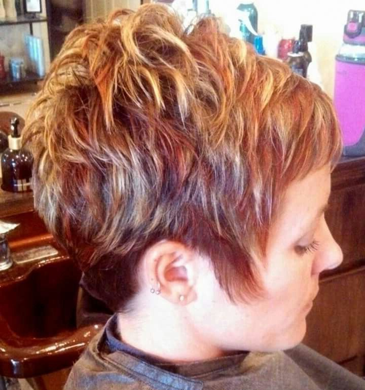 Womens Short Hair Cut With Red And Blond Highlights (View 5 of 25)