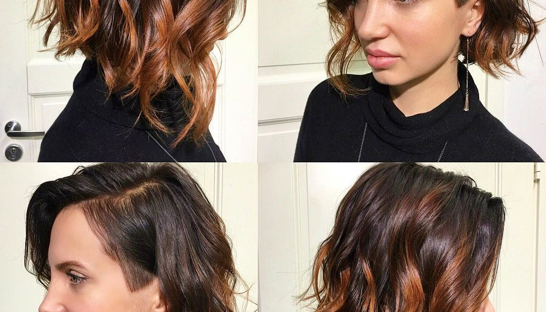 Women's Wavy Angled Undercut Bob With Balayage Color Regarding Angled Undercut Hairstyles (View 24 of 25)