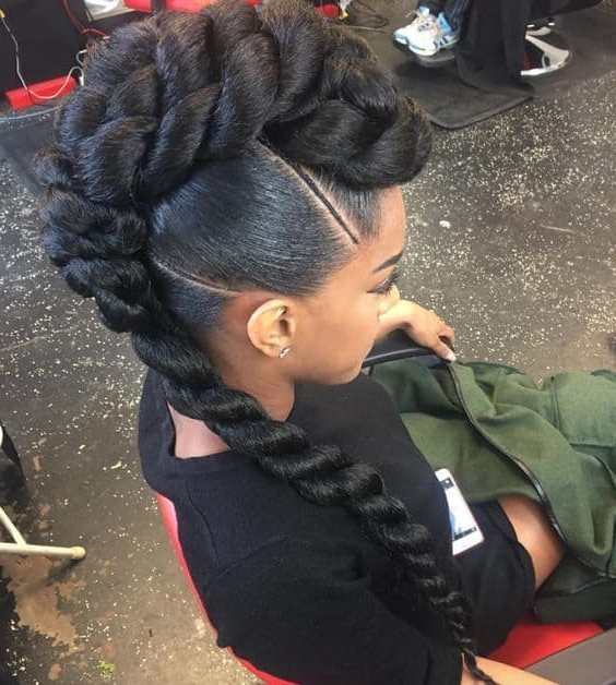 12 Striking Big Twist Braids – Try These Trends For Black Braided Faux Hawk Hairstyles (View 16 of 25)