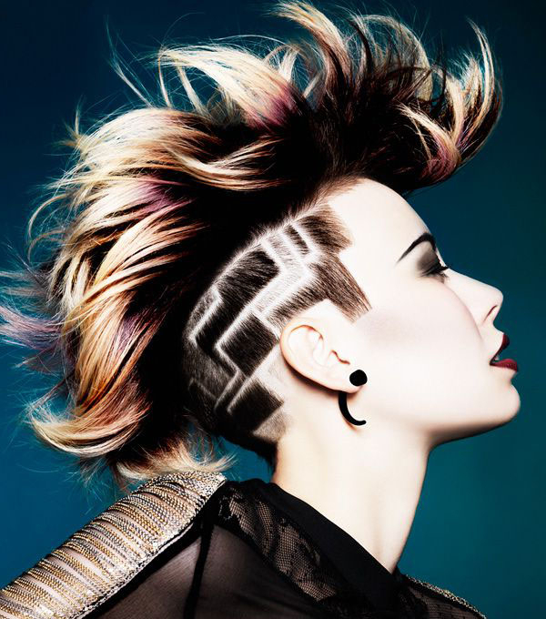 17 Side Undercut Hairstyle Designs Clipper Patterns – Strayhair Regarding Platinum Mohawk Hairstyles With Geometric Designs (View 20 of 25)