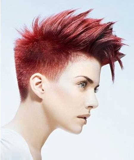 20 Stylish Colors For Short Hair – Pretty Designs With Vibrant Red Mohawk Updo Hairstyles (View 7 of 25)