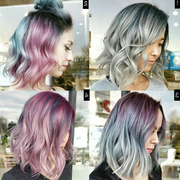 20 Trendy Gray Hairstyles – Gray Hair Trend & Balayage Hair Designs Inside Newest Medium Angled Purple Bob Hairstyles (View 4 of 25)