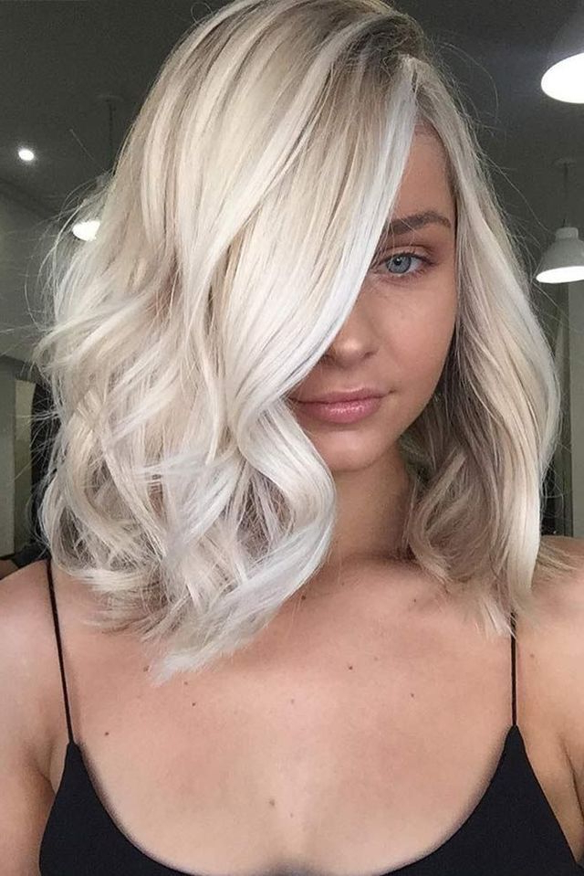 2018 Platinum Blonde Loose Wavy Bob Side Part | Tasha–New Blonde In With Newest Platinum Layered Side Part Hairstyles (View 19 of 25)