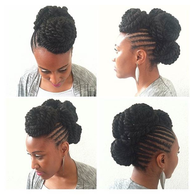 23 Faux Hawk Hairstyles For Women | Stayglam Regarding Braids And Twists Fauxhawk Hairstyles (View 7 of 25)