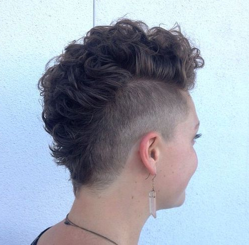 25 Exquisite Curly Mohawk Hairstyles For Girls And Women | Hair Within Mohawk Hairstyles With An Undershave For Girls (View 11 of 25)