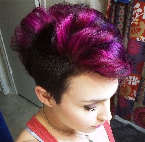 25 Exquisite Curly Mohawk Hairstyles For Girls And Women In 2018 Regarding Pink And Purple Mohawk Hairstyles (View 7 of 25)
