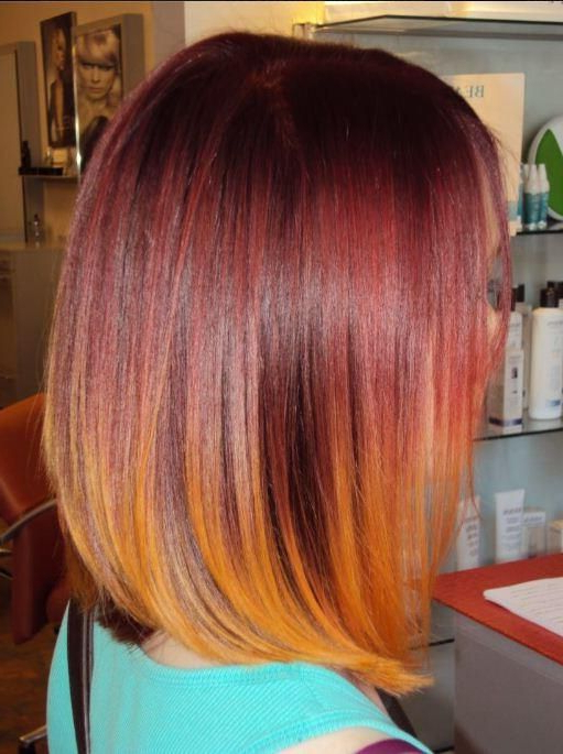 26 Popular Ombre Bob Hairstyles – Ombre Hair Color Ideas – Pretty With Most Up To Date Medium Haircuts With Fiery Ombre Layers (View 10 of 25)