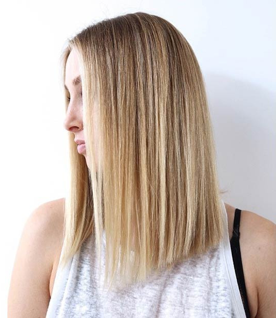 27 Beautiful Long Bob Hairstyles: Shoulder Length Hair Cuts For Most Recent Straight Layered Tresses In A Line Hairstyles (View 10 of 25)