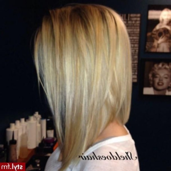 27 Beautiful Long Bob Hairstyles: Shoulder Length Hair Cuts Regarding Most Recent Long Angled Bob Hairstyles With Chopped Layers (View 5 of 25)