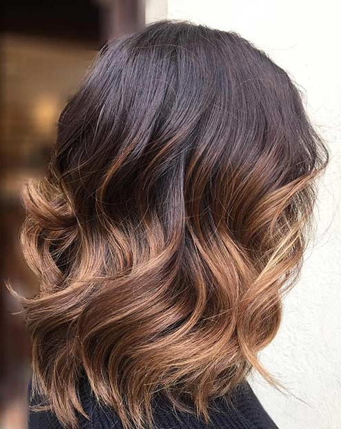 27 Pretty Lob Haircut Ideas You Should Copy In 2017 | Stayglam Inside Newest Medium Haircuts With Fiery Ombre Layers (View 12 of 25)
