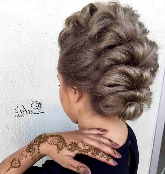 27 Super Trendy Updo Ideas For Medium Length Hair – Popular Haircuts Within Glamorous Mohawk Updo Hairstyles (View 21 of 25)