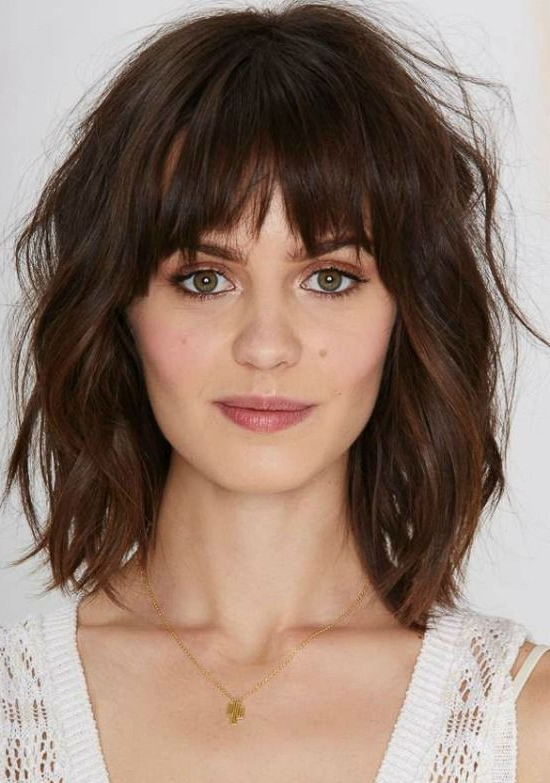 35 Awesome Bob Haircuts With Bangs – Makes You Truly Stylish | My Intended For 2018 Brunette Feathered Bob Hairstyles With Piece Y Bangs (View 4 of 25)