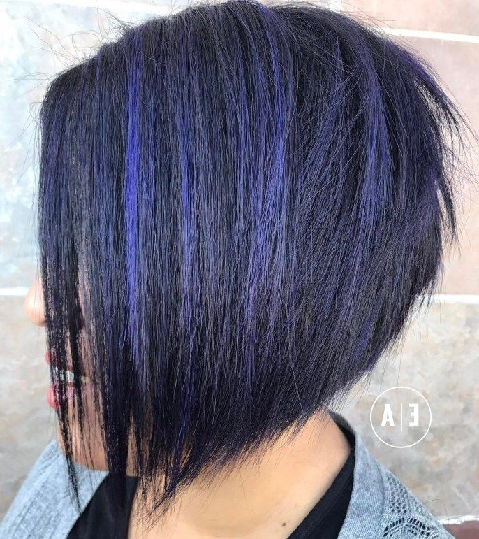 Featured Photo of Medium Angled Purple Bob Hairstyles