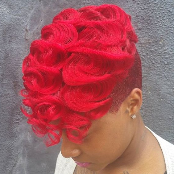 40 Mohawk Hairstyles For Black Omen Intended For Vibrant Red Mohawk Updo Hairstyles (View 11 of 25)