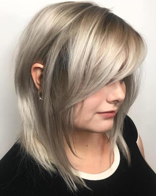 40 Side Swept Bangs To Sweep You Off Your Feet | Hair | Pinterest For Most Recently Flipped Lob Hairstyles With Swoopy Back Swept Layers (View 5 of 25)