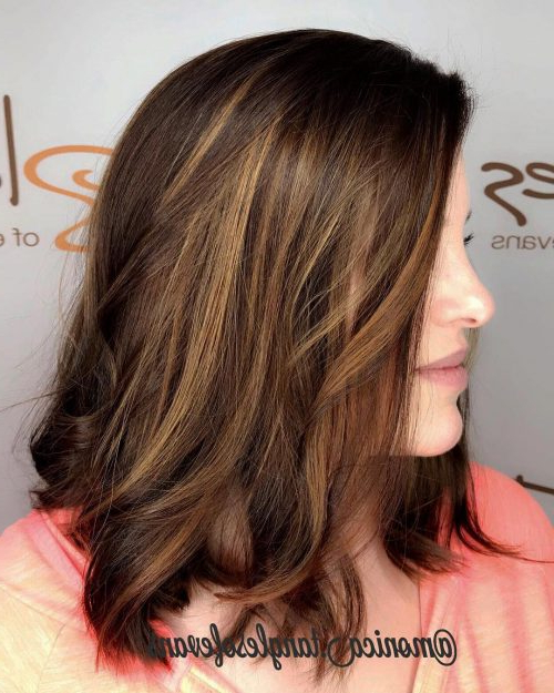 41 Incredible Dark Brown Hair With Highlights (Trending For 2019) Inside Best And Newest Fringy Layers Hairstyles With Dimensional Highlights (View 11 of 25)