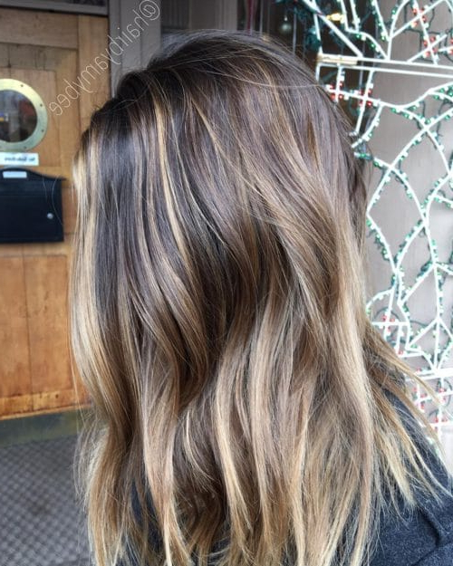 41 Incredible Dark Brown Hair With Highlights (Trending For 2019) Pertaining To Current Fringy Layers Hairstyles With Dimensional Highlights (View 3 of 25)