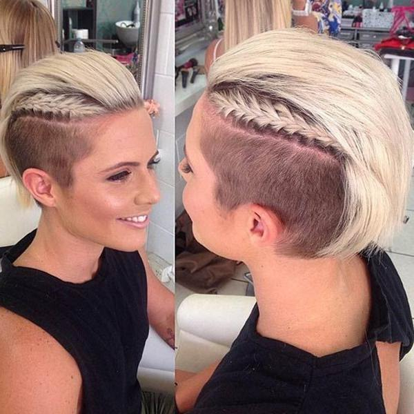 45 Fantastic Braided Mohawks To Turn Heads And Rock This Season Inside Bleached Feminine Mohawk Hairstyles (View 17 of 25)