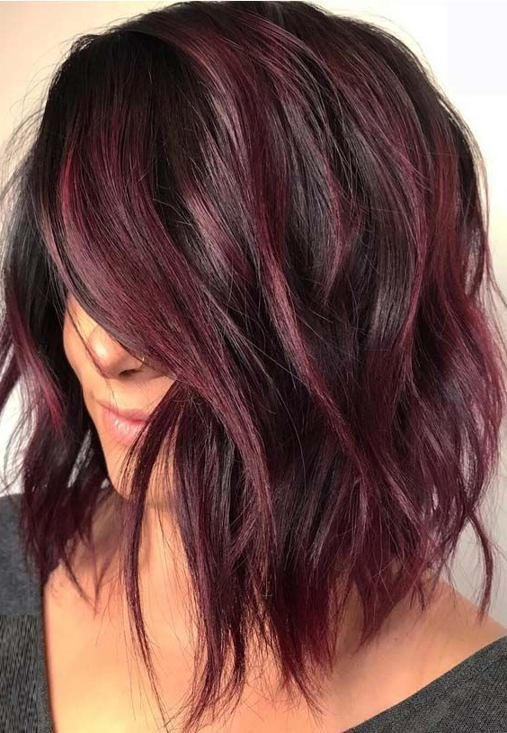 48 Favorite Hair Color Ideas For Lob Styles In 2018 | Burgundy Hair With Regard To 2018 Burgundy Bob Hairstyles With Long Layers (View 10 of 25)