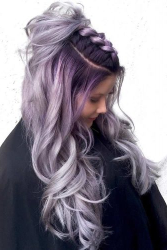 49 Cosmic Dark Purple Hair Hues For The New Image | Lovehairstyles Within Lavender Ombre Mohawk Hairstyles (View 17 of 25)