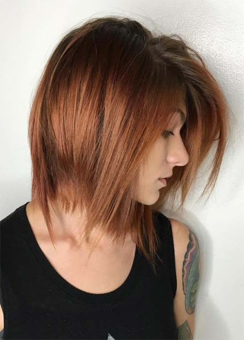 55 Incredible Short Bob Hairstyles & Haircuts With Bangs | Fashionisers Pertaining To Newest Point Cut Bob Hairstyles With Caramel Balayage (View 14 of 25)