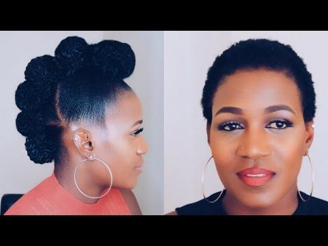 6 Cute Ways To Style Your Natural Twa 3C 4A 4B & 4C Friendly [Video Inside Athenian Goddess Faux Hawk Updo Hairstyles (Gallery 12 of 25)