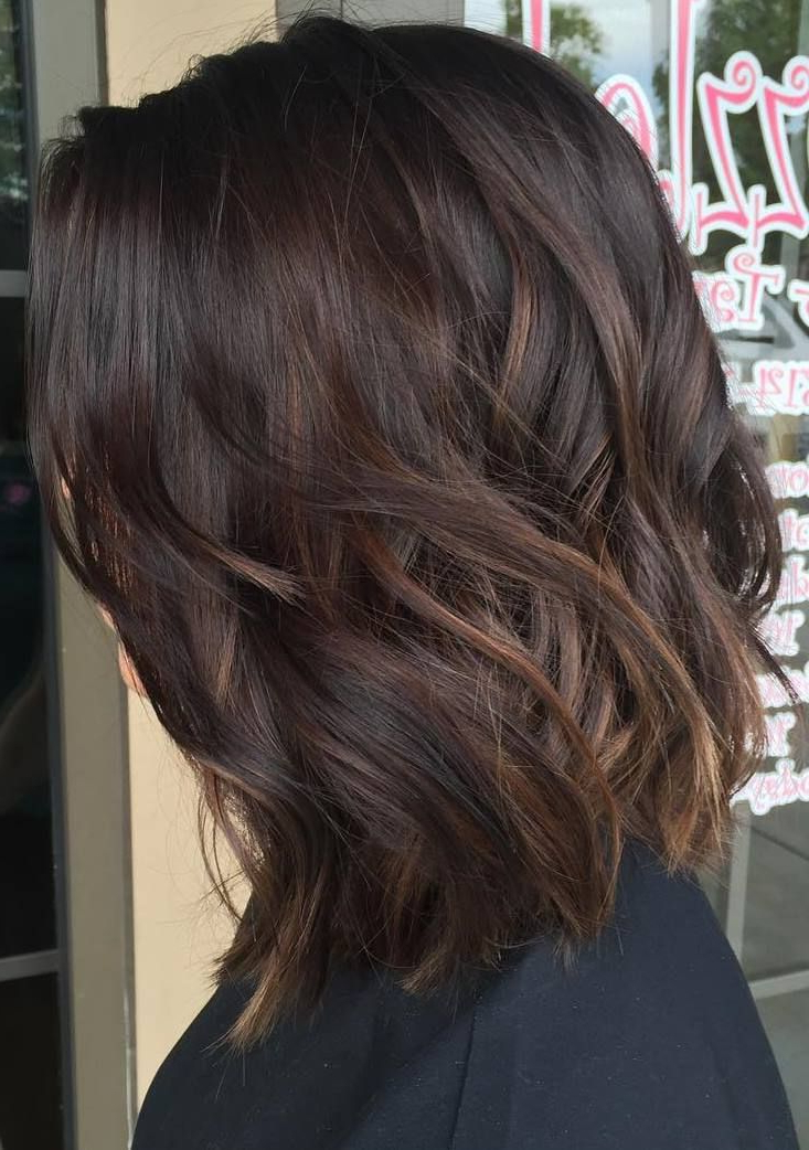 60 Balayage Hair Color Ideas With Blonde, Brown, Caramel And Red In 2018 Caramel Lob Hairstyles With Delicate Layers (Gallery 9 of 25)