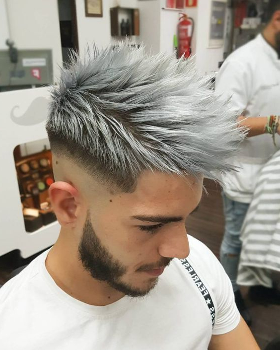 60 Incredible Hair Color Ideas For Men – Express Yourself > Gray Inside Stunning Silver Mohawk Hairstyles (View 16 of 25)
