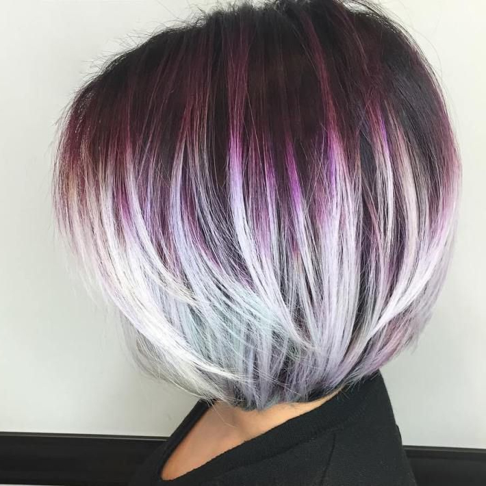 60 Layered Bob Styles: Modern Haircuts With Layers For Any Occasion In 2018 Medium Angled Purple Bob Hairstyles (Gallery 3 of 25)