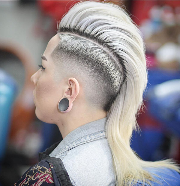 60 Most Gorgeous Mohawk Hairstyles Of Nowadays – Page 22 – Foliver Blog For Long Platinum Mohawk Hairstyles With Faded Sides (Gallery 5 of 25)