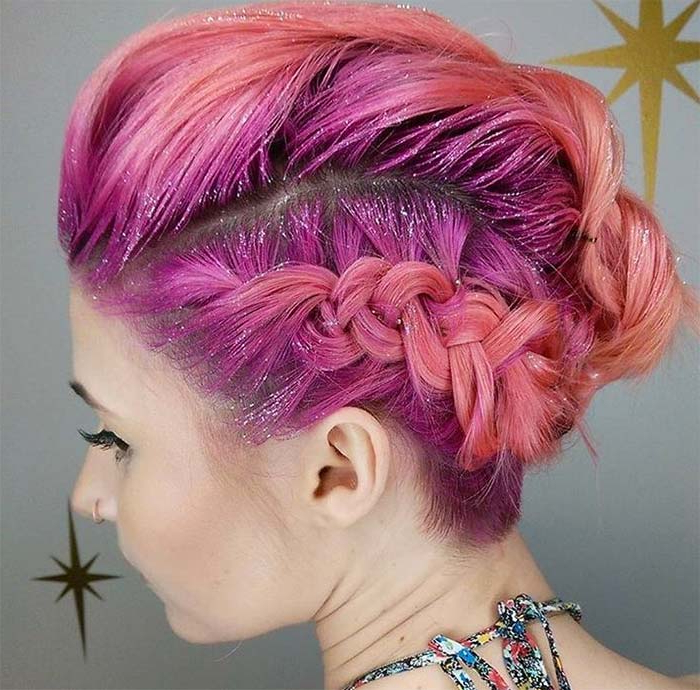 63 Creative Updos For Short Hair Perfect For Any Occasion – Glowsly Regarding French Braid Pinup Faux Hawk Hairstyles (View 20 of 25)