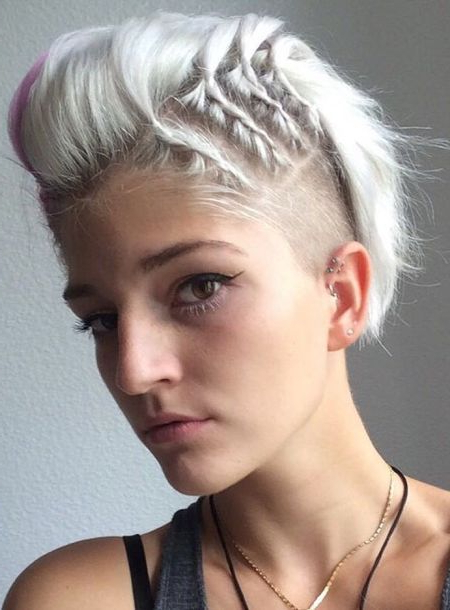 66 Shaved Hairstyles For Women That Turn Heads Everywhere Inside Platinum Mohawk Hairstyles With Geometric Designs (Gallery 11 of 25)