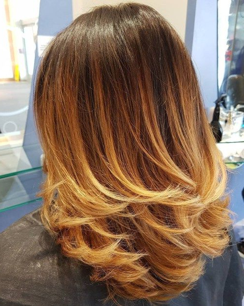 70 Brightest Medium Layered Haircuts To Light You Up | Blonde Ombre Pertaining To Most Current Medium Haircuts With Fiery Ombre Layers (Gallery 1 of 25)
