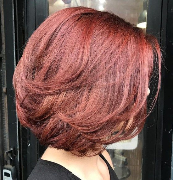 70 Brightest Medium Layered Haircuts To Light You Up In 2018 | Hair For Most Popular Burgundy Bob Hairstyles With Long Layers (View 3 of 25)