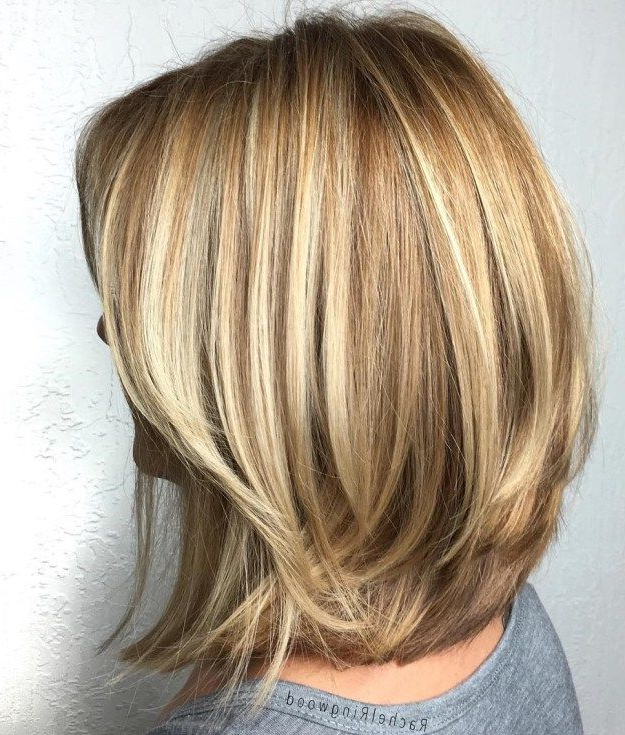 70 Brightest Medium Layered Haircuts To Light You Up In 2018 | Hair Inside Current Two Tier Caramel Blonde Lob Hairstyles (Gallery 1 of 25)