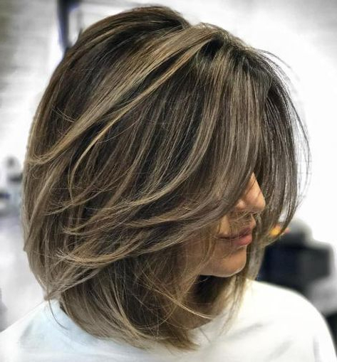 70 Brightest Medium Layered Haircuts To Light You Up In 2018   Hair With Regard To Most Popular Feathered Brunette Lob Haircuts (Gallery 1 of 25)