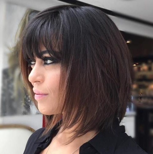 70 Brightest Medium Layered Haircuts To Light You Up In 2018 Pertaining To 2018 Brunette Feathered Bob Hairstyles With Piece Y Bangs (Gallery 1 of 25)