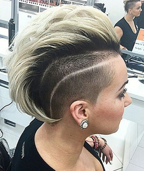 70 Most Gorgeous Mohawk Hairstyles Of Nowadays In 2018 | Hair Regarding Platinum Mohawk Hairstyles With Geometric Designs (View 14 of 25)