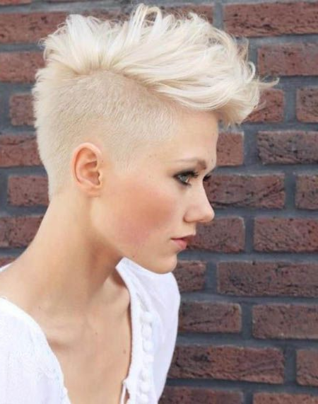 70 Most Gorgeous Mohawk Hairstyles Of Nowadays In 2019 | Hair In Platinum Mohawk Hairstyles With Geometric Designs (Gallery 1 of 25)
