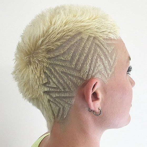 70 Most Gorgeous Mohawk Hairstyles Of Nowadays | Short Blonde For Platinum Mohawk Hairstyles With Geometric Designs (Gallery 3 of 25)