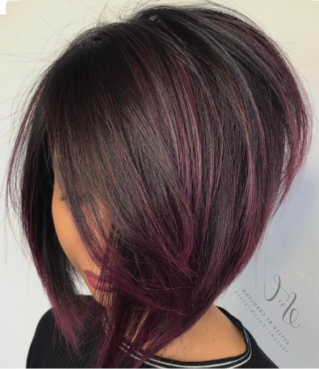 958 Best Bobs Images On Pinterest | Hair Cut, Hairstyle Short And Within Most Popular Medium Angled Purple Bob Hairstyles (View 10 of 25)