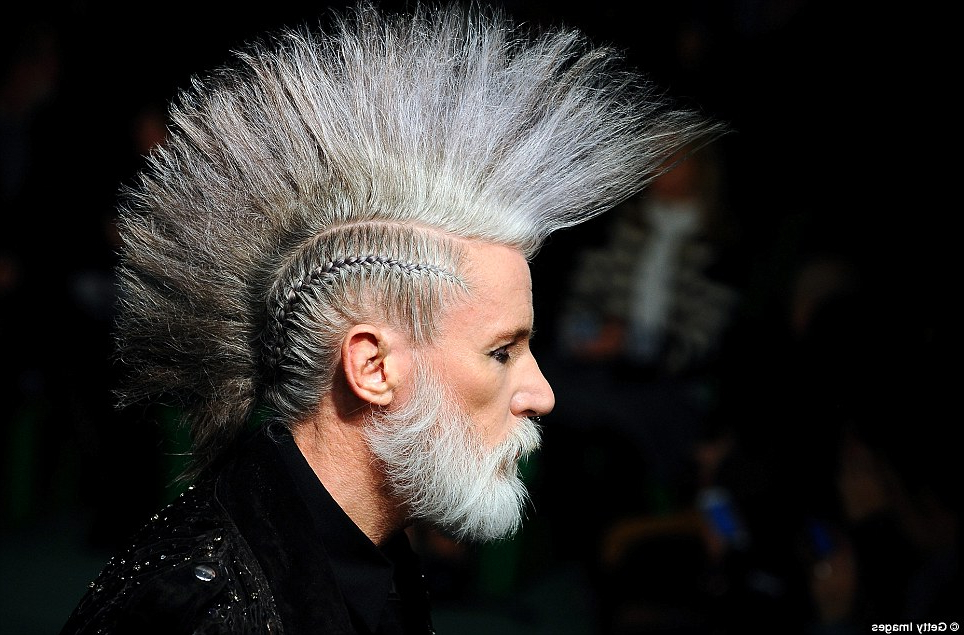 Ageing Punks With Grey Mohawks Rule At Jean Paul Gaultier Paris With Silvery White Mohawk Hairstyles (Gallery 19 of 25)