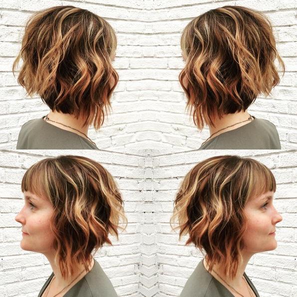 Angled Bob Hairstyle With Bangs – Short, Layered Wavy Haircuts With 2018 Layered Wavy Lob Hairstyles (Gallery 18 of 25)