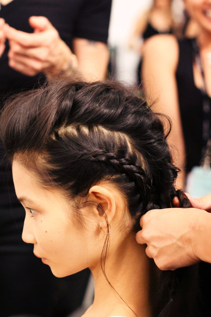 Backstage At Marissa Webb | Beauty | Hair Styles, Hair, Braids In French Braid Pinup Faux Hawk Hairstyles (View 14 of 25)
