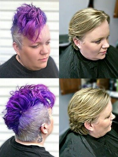 Before And After; Purple Ombre Mohawk! Kirby's Hairstyles Www Throughout Lavender Ombre Mohawk Hairstyles (View 3 of 25)