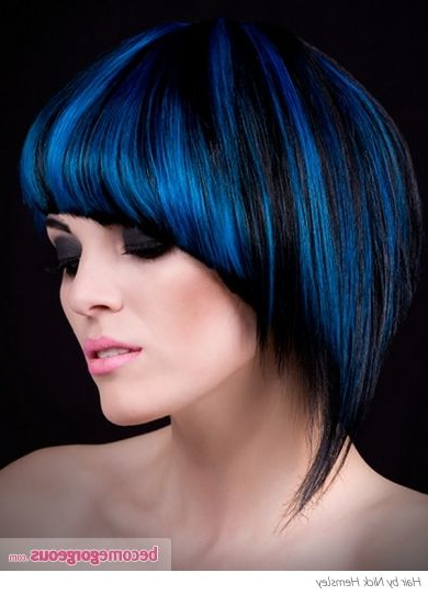 Black Hair And Blue Highlights Punk Girl Hairstyles Pictures This Regarding Spiky Mohawk Hairstyles With Pink Peekaboo Streaks (View 7 of 25)
