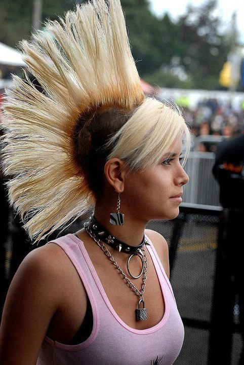 Bleach Blonde Hawk | Mohawks! | Pinterest | Punk, Punk Rock Girls Throughout Bleached Feminine Mohawk Hairstyles (View 6 of 25)