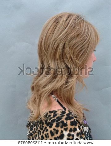 Blonde Girl Haircut Medium Length Hair Stock Photo (Edit Now For Most Up To Date Medium Length Cascade Hairstyles (View 14 of 25)