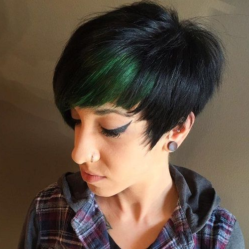 Blonde, Red, Brown, Ombre Ed And Highlighted Pixie Cuts For Any With Regard To Spiky Mohawk Hairstyles With Pink Peekaboo Streaks (View 20 of 25)