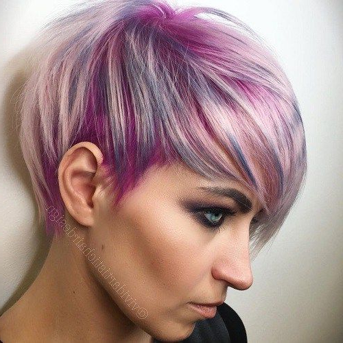 Blonde, Red, Brown, Ombre Ed And Highlighted Pixie Cuts For Any With Regard To Spiky Mohawk Hairstyles With Pink Peekaboo Streaks (View 19 of 25)